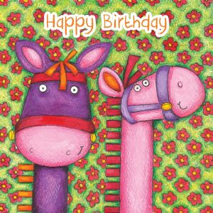 Ponies Birthday Card With Googly Eyes TW274